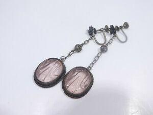 STERLING SILVER VICTORIAN / EDWARDIAN AMETHYST DROP EARRINGS