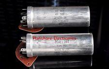 USA MALLORY NOS Electrolytic Capacitor 40uf + 40uf 500V