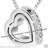 NEW Twin Heart Clear Crystal Necklace Love Wife Daughter Xmas Gift For Her Women