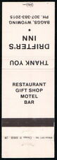 BAGGS WY Drifter's Inn Vintage Motel Restaurant Match Book Cover Old Advertising