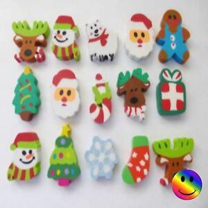 Christmas Eraser Stocking Filler Santa Snowman Reindeer Gift Stocking etc x 5