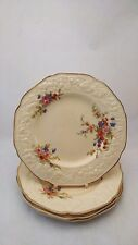 """Set of FOUR Crown Ducal Marie Florentine Shape 8"""" Salad Plates With Crazing"""