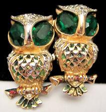 "Rare Vtg 2"" Signed Coro Enamel Green Rhinestone Owl Brooch Fur Clips Duette A49"