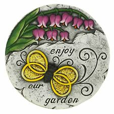 Colorful Yellow Glittery Bee Pink Flower Cement Decorative Garden Stepping Stone