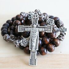 Rosary Camo Paracord Brown Wood Flowers Rope Cord Wearable Rosario Catholic