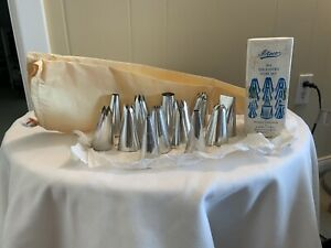 Vintage Ateco 091 Tin Pastry Tube Set With Pastry Bag 12 Tips