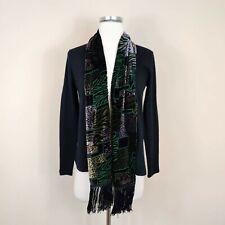 Neo Noble M Cashmere Cardigan Sweater Draped Fringe Scarf Black Artsy