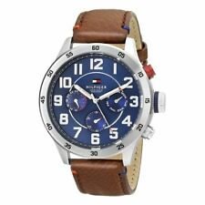 Tommy Hilfiger Mens Brown Leather Quartz Analog 1791066 Watch