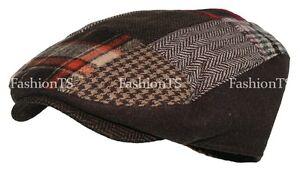 Multi Pattern Patchwork Wool Blend Gatsby Newsboy Ivy Hat Herringbone Golf Cap