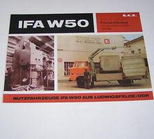 Prospekt / Broschüre DDR LKW IFA W 50 L/L mit Ladekran LDK 1250 - Stand 1972!