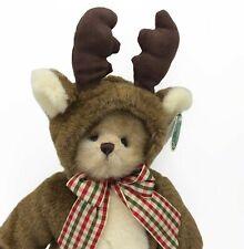 The Bearington Collection Bearly A Reindeer Christmas Costume Teddy Bear Plush