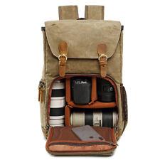 Waterproof Shock-resistant Canvas Camera Bag Retro Style Travel Backpack