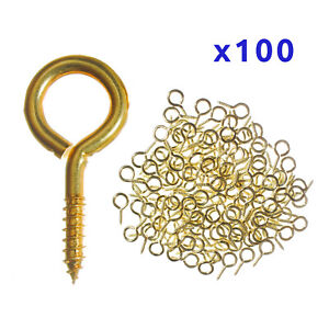 100x Small SCREW EYES HOOK Picture Frame 12mm - 25mm Brass Metal Eye Gold Loop