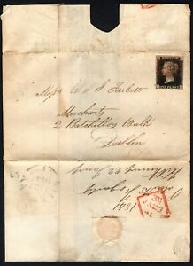 "1841 Irish part wrapper 1d Black 4m SG2-7 ""TG"" plate 7 Kilkenny-Dublin"