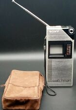 RARE Vintage Sony FD-210 Watchman Coat Pocket Television TV With Case  WORKING