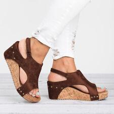 Womens Ladies Flatform Peep Toe Espadrille Wedge Sandals Ankle Slingback Shoes