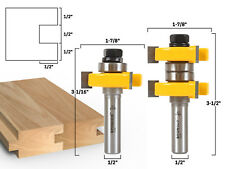 "1-1/2"" 2 Bit Tongue and Groove Router Bit Set - 1/2"" Shank - Yonico 15224"