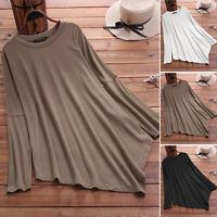 ZANZEA 10-24 Women Plain Solid Basic Pullover Top Shirt Tee Asymmetric Blouse
