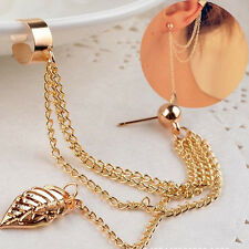 Fashion Jewelry Women Elegant Gold Tassel Leaf Pendant Ear Stud Earrings