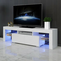 "63"" White High Gloss TV Stand Unit Entertainment Center LED Shelf 2 Large Drawer"