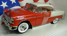 Ertl 1/18 Scale - 8110 1955 Chevrolet Bel Air Red / White Diecast Model Car