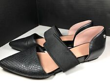 Simply Vera Vera Wang Faux Snake Leather Black Pointed Toe Flats Elastic Sz 7M