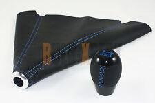 FOR MITSUBISHI EVO LANCER 7 8 9 X BLK SHIFT KNOB + LEATHER BOOT BLUE STITCHING