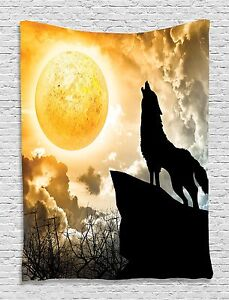 Wolf Full Moon Mystic Night Tapestry Wall Hanging for Living Room Bedroom Dorm