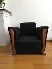 fauteuil art déco tissu structuré noir très bon état .