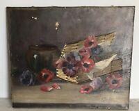 """Ancienne Huile toile peinture tableau """"Boite Aux Fleurs"""" signée 1900 XIX 19TH"""