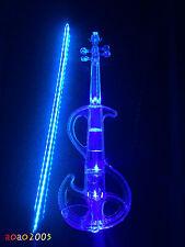 4/4 Crystal Acrylic Electronic Electro-acoustic Violin Blue, Luminous Bow rod
