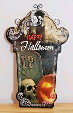 Halloween Skull Pumpkin Tombstone RIP Metal MDF Wall Sign Door Plaque Decor New