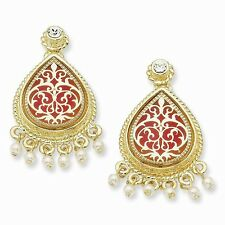 Jackie Kennedy Gold-Plated Pearl Red-Enameled French Moroccan Post Earrings