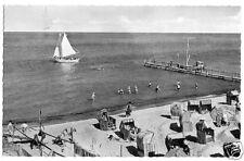 AK, Göhren Rügen, Strandpartie belebt, Segelboot, 1961