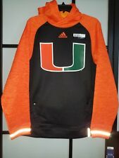 NCAA Miami Hurricanes Sideline Player ClimaWarm Hoodie Black Green Orange Sz M