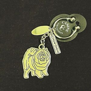 Chow Chow Keychain Canine Collection Silver Plated Ring Dog Tag Car