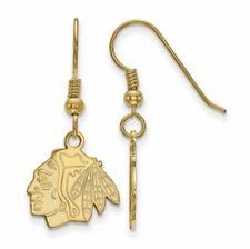 SS w/GP NHL Chicago Blackhawks Small Dangle Earrings