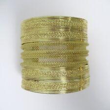 "Goldtone Cuff Bracelet Tribal Boho Gypsy Ethnic 2 1/2"" Wide Wire Mesh Metal"