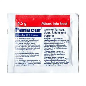 Panacur C MSD Wormer 22.2% w/w Fenbendazole Dog Cat Puppy 4.5g Granules Sachet