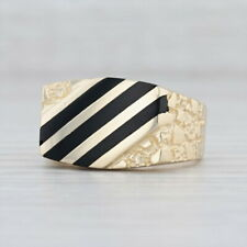 Men's Black Onyx Chalcedony Nugget Ring 14k Yellow Gold Size 9