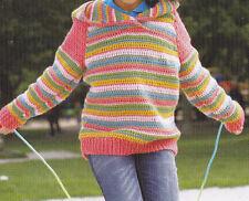 Crochet Pattern ~ Kids JOY STRIPES HOODIE Sweater ~ Instructions