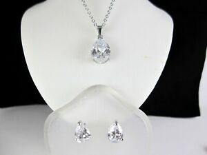 "10.8ct Solitaire Oval Cut White Sapphire 15 - 17"" Necklace & Earrings Set w/ Box"