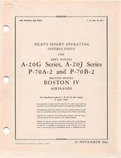 1944 AAF DOUGLAS A-20G & J/ P-70A,B HAVOC PILOTS FLIGHT MANUAL AIRCRAFT HANDBOOK