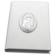 Santo vangelo similpelle bianco cm 11x8 con maternità laminata in argento