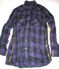 New Womens Designer True Religion XS Plaid Top Logo Black Purple NWT Tunic Zip