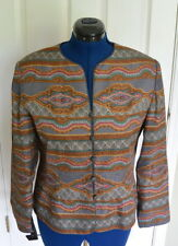 Adrianna Papell Silk Jacket Size 14 L Blazer Lined Fitted Paisley