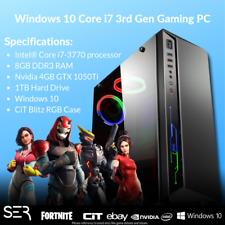 Windows 10 Core i7-3770 Quad Core Gaming Tower PC - 8GB DDR3 - 1000GB HDD - HDMI