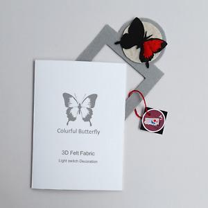 Super Butterfly Light Switch Decoration Felt Fabric 3D Handmade Lovely Item Red
