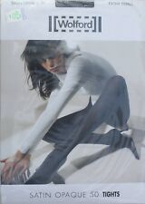NEUF @@ COLLANT BRILLANT OPAQUE ANTHRACITE + WOLFORD Satin Opaque 50 + XS