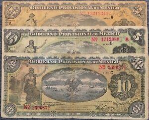 MEXICAN REVOLUTIONARY SET x 3 1-5-10 1914 Series: A B C CIRCULATED
